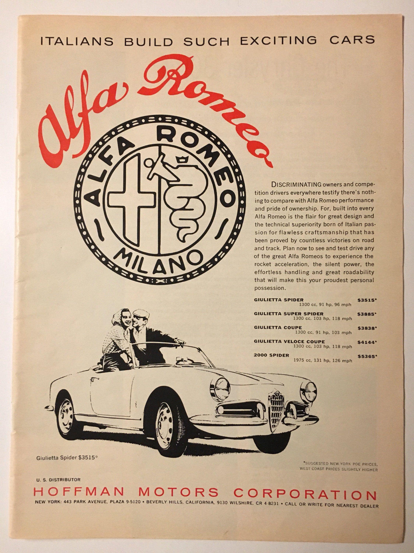 1960 Alfa Romeo Giulietta Ad in Road and Track magazine by