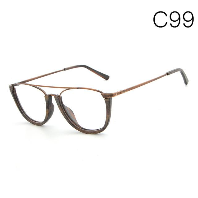 HDCRAFTER Men Women Vintage Semi Rimless Bamboo Wood Spectacles   7 Styles f4c6cd0cdb