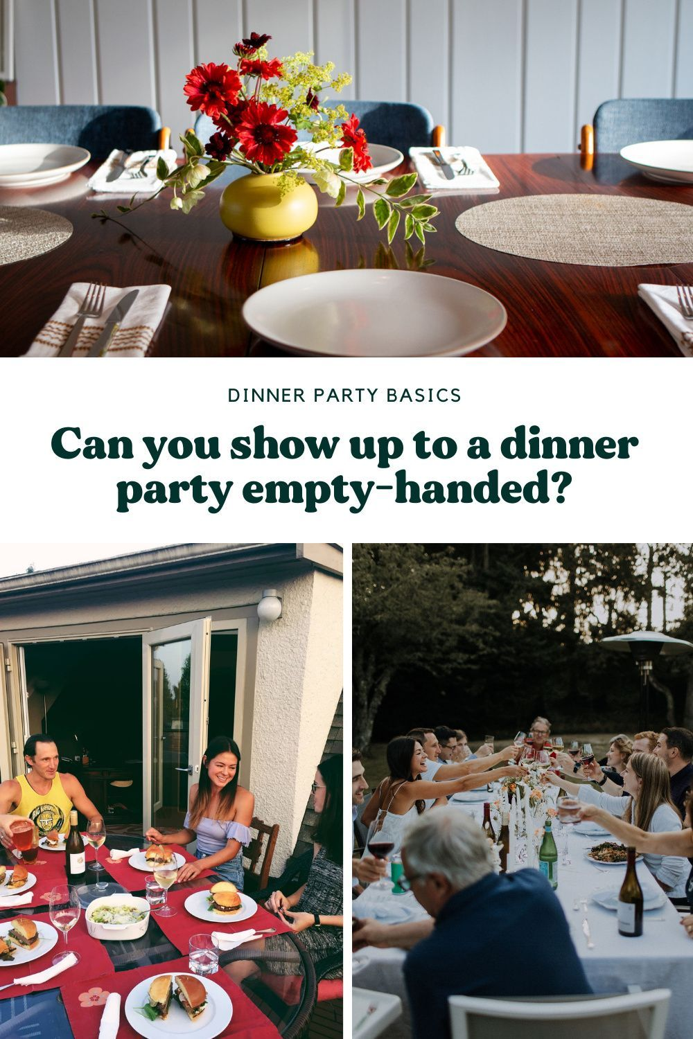 Find out if and when it's appropriate to show up to a dinner party empty-handed, and, what to bring when it's not so cool do so. More at FeedMyFriends.com | #dinnerpartyetiquette #diningetiquette #hostessgifts #hostgifts #givebettergifts #gatherbetter #artofgathering #dinnerparty #howtobeagoodguest #feedmyfriends