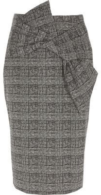 River Island Womens Black check bow front pencil skirt
