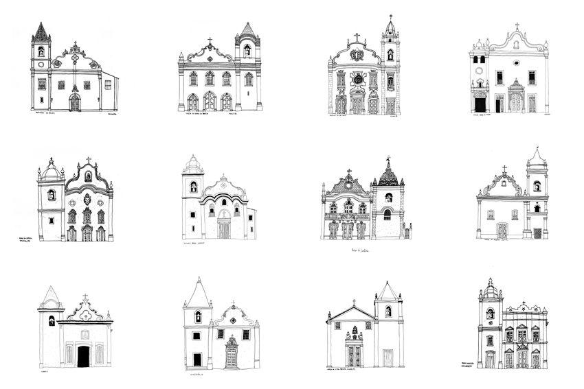 Igrejas No Brasil Desenhos Por Eduardo Verderame Com Imagens