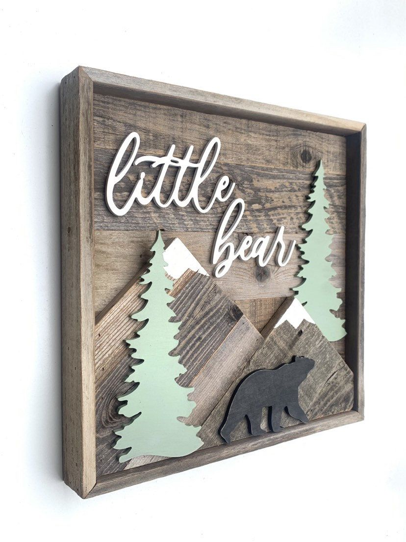18 Nursery Sign - Little Bear Sign | Bear Nursery Name Sign | Woodland Nursery | Mountain Sign | Boy Nursery