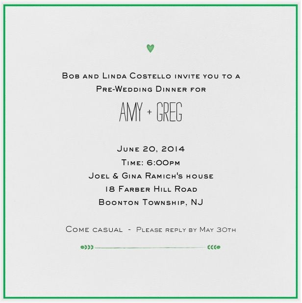 Prewedding dinner invite My Wedding Pinterest Wedding dinner