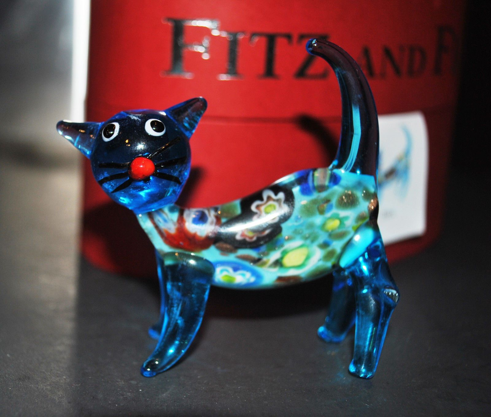 New Fitz Floyd Glass Menagerie Jinx Blue Cat Flower Cute EDT Gift Box | eBay