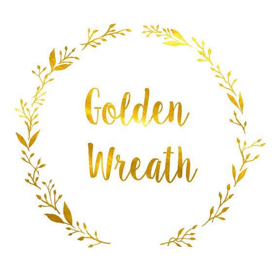 gold wreath logo designwatercolor wreath by