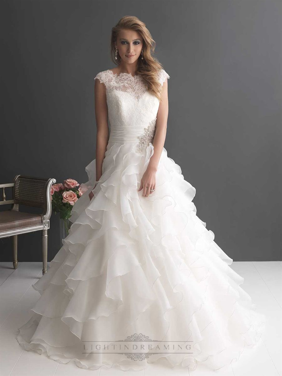Cap Sleeves Ruffled Layered Ball Gown Wedding Dress with Ruched Band ...