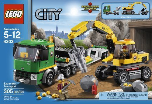 Lego City Excavator Transport 4203 673419167611 Vehicles Include Transport Truck And Excavator Transporter Features Articulated Tr Lego City Lego City Police