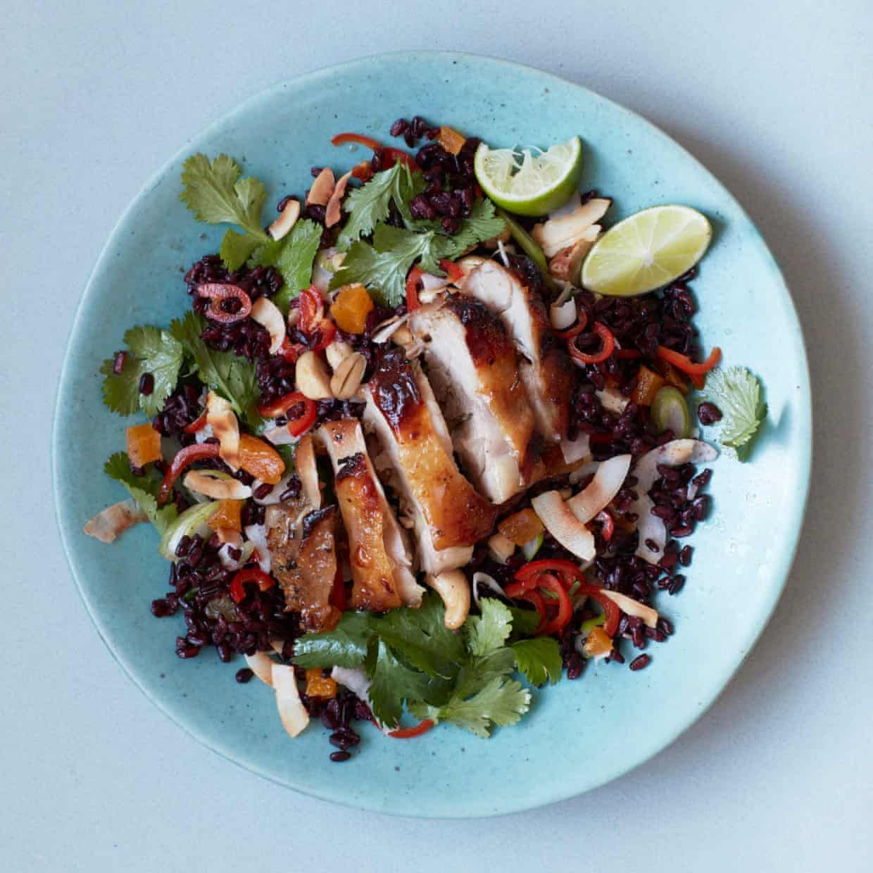 Thomasina Miers Recipe For Crispy Chicken Thighs With Black Rice Salad The Simple Fix Crispy Chicken Thighs Black Rice Salad Crispy Chicken