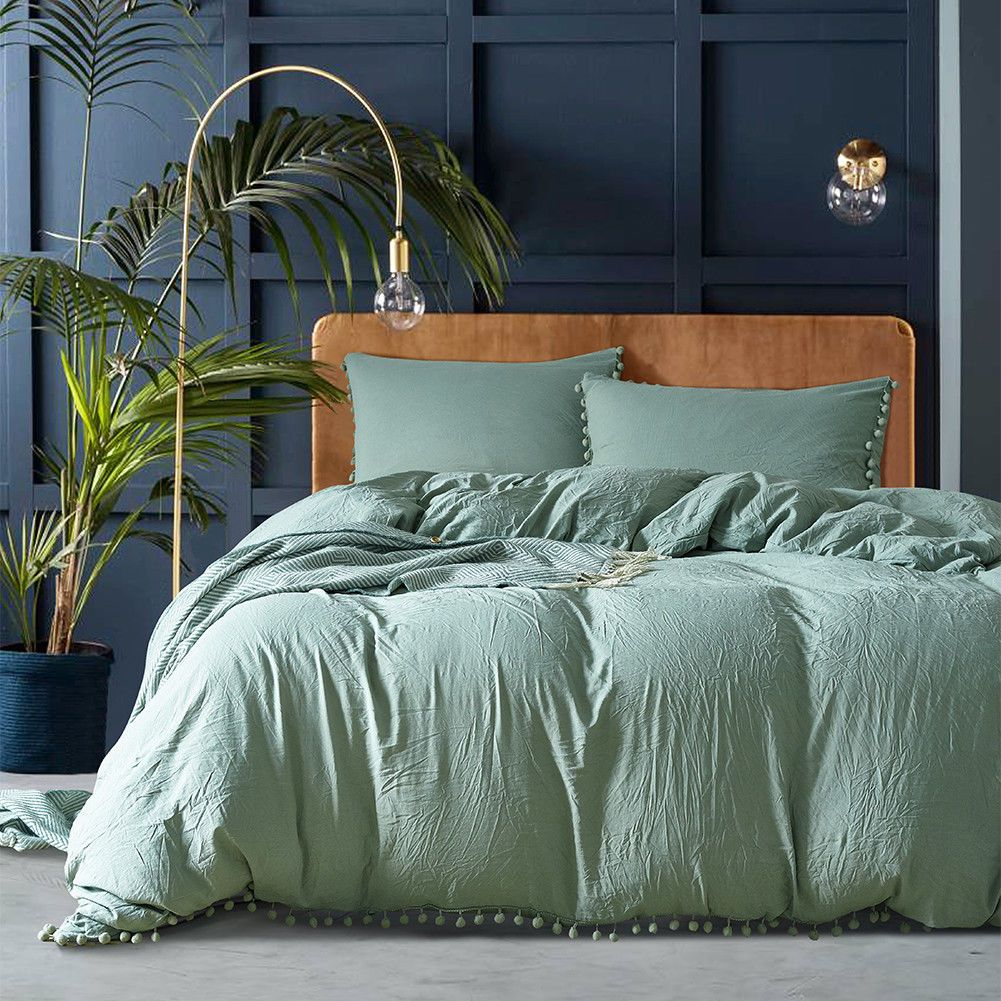 Green Duvet Cover Set Dark Sea Green Bedding Ball Bedding With Pom Poms Ebay Green Duvet Covers Green Bedding Set Green Bedding