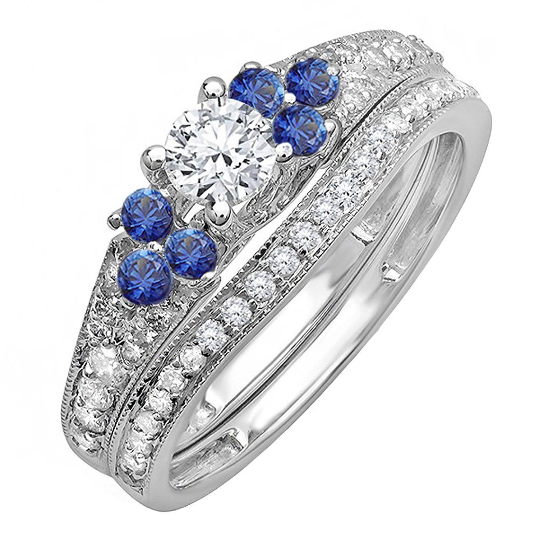 14K White Gold Round Blue Sapphire And White Diamond