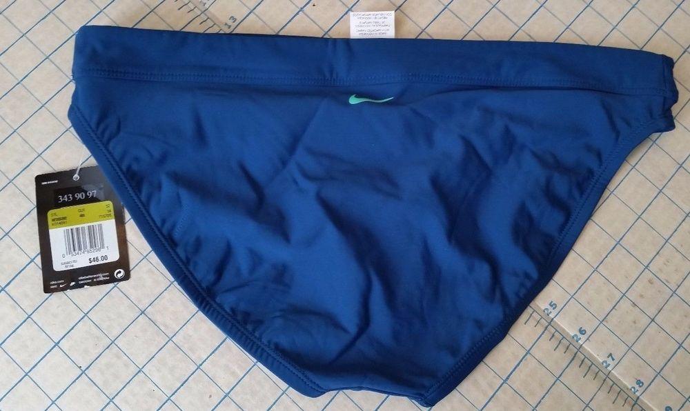 Nike Swimsuit NWT Bikini Bottom  Blue Teal Bathing Suit Women's 14 L large NEW #Nike #BikiniBottom