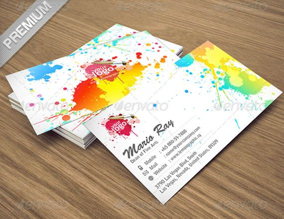 Art Color Business Card Template Free Templates