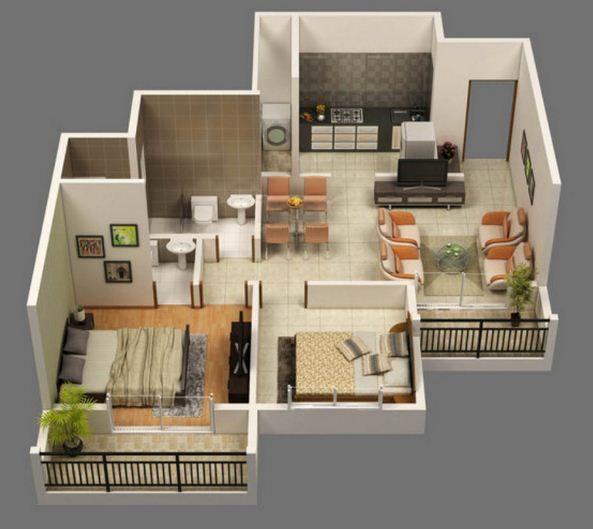 planos de casas pequenas dos habitaciones