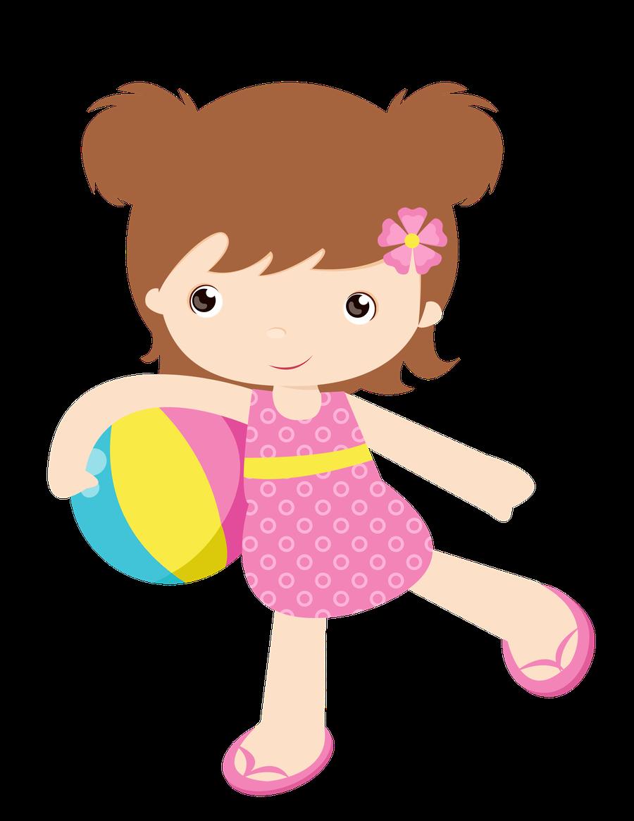 Summer Little Girl Clip Art - Clipart