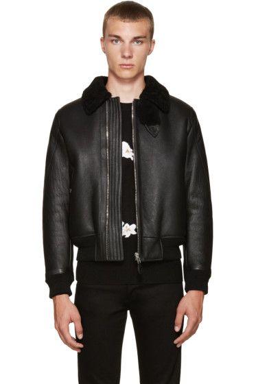 Givenchy Black Shearling Jacket Black Shearling Jacket Mens Leather Bomber Jacket Shearling Jacket