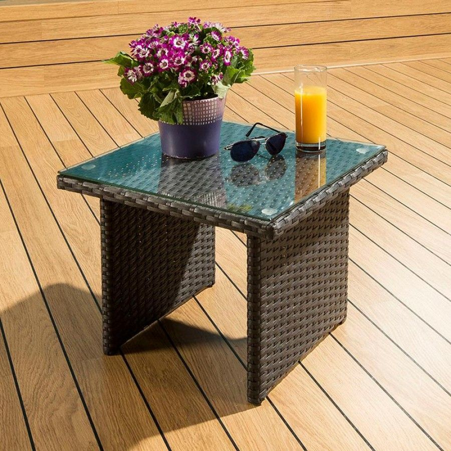 Best Luxury Outdoor Garden Square Side End Coffee Table Black 400 x 300