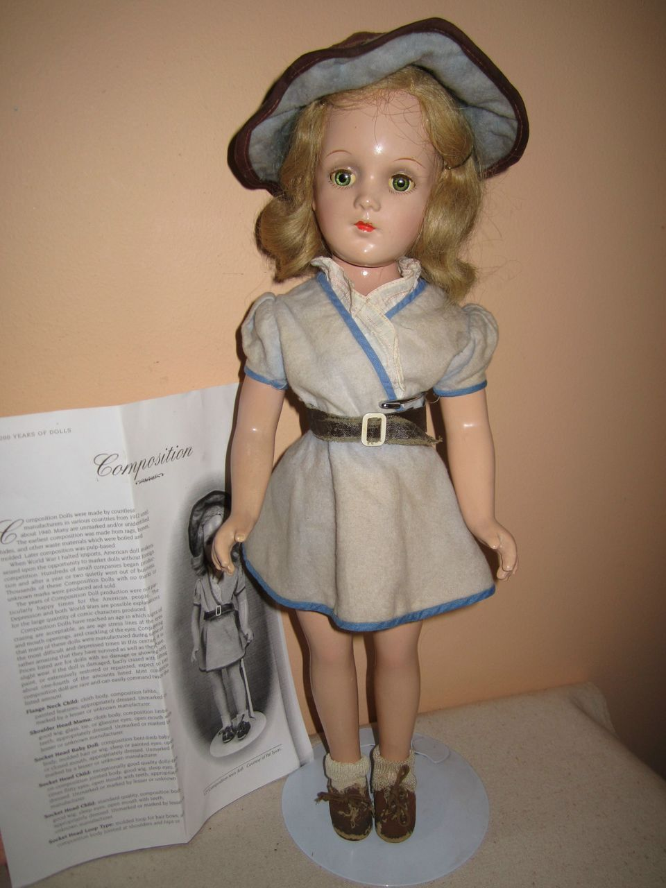 Vintage composition teen doll original clothes, unmarked but probably Arranbee