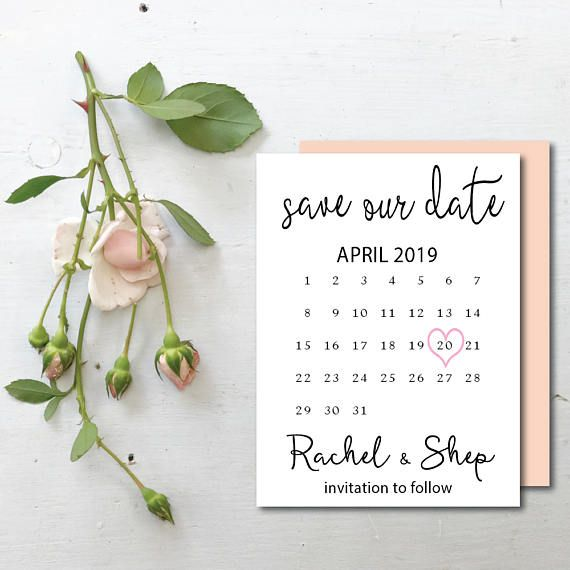 Engagement Card Save The Date Calendar Stamp Save The Date Card