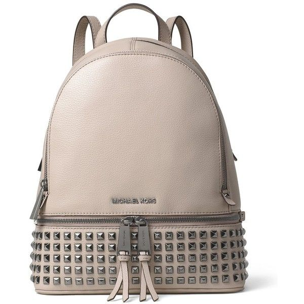 Michael Michael Kors Rhea Pyramid Stud Medium Venus Leather Backpack ($358) ❤ liked on Polyvore featuring bags, backpacks, cement, day pack backpack, brown leather rucksack, brown leather backpack, genuine leather bags and leather backpack