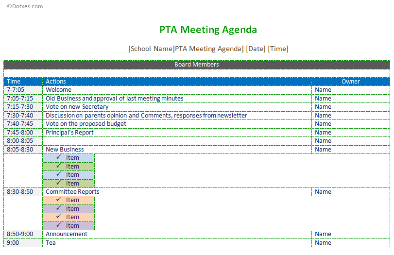 Pta Meeting Agenda Temple In EmailMessage  Agenda Templates