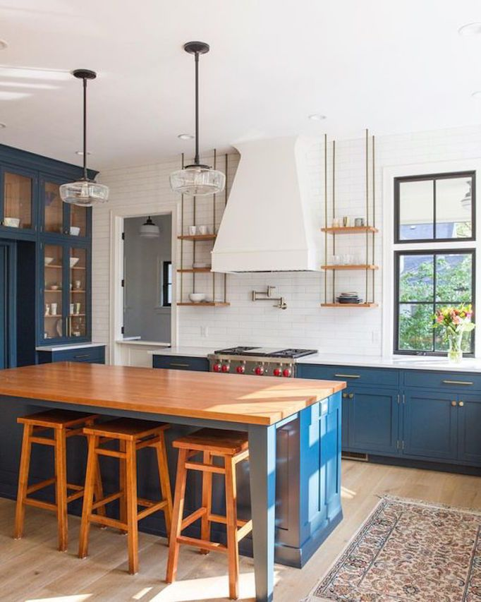Becki Owens— Kitchen Design Inspiration 3 Blue Beauties Simple Blue Kitchen Design Review