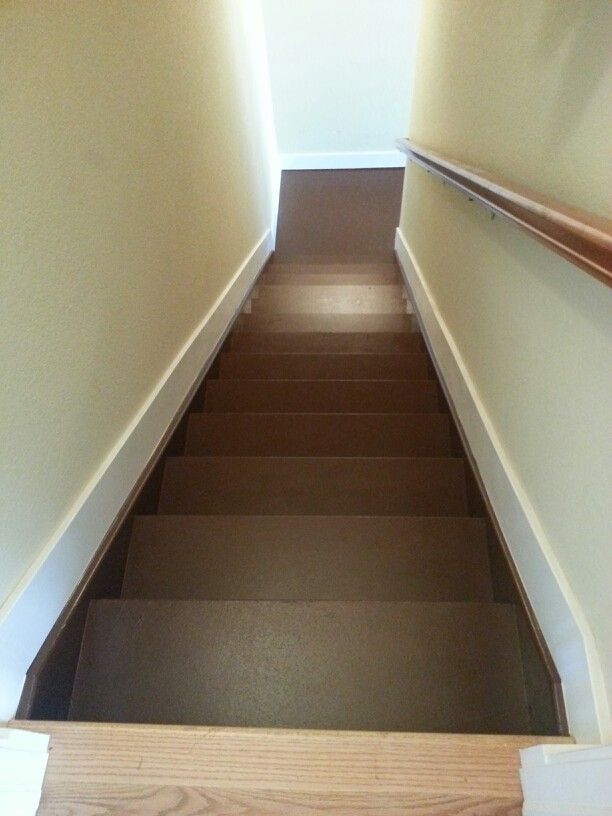 Paint the stairs going down to an unfinished basement brown Makes