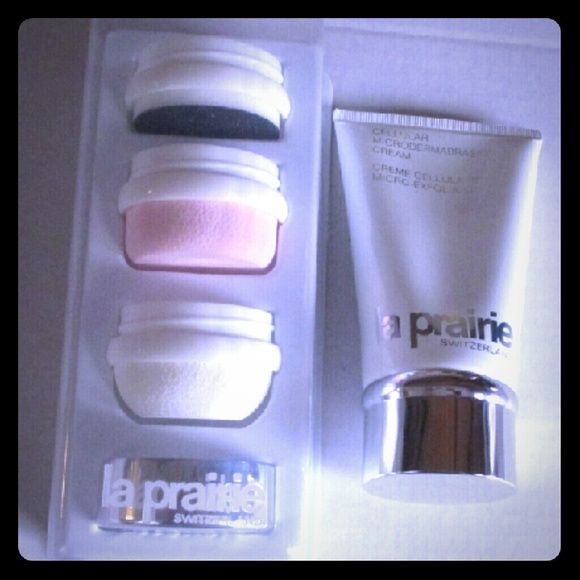 La Prairie Microdermabrasion Kit Cellular Cream Kit includes 4.2 ounce cellular microdermabrasion cream with 3 attachments. New, never used. Makeup