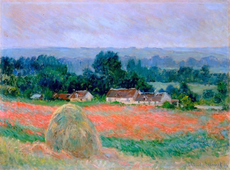 Haystack At Giverny 1886 By Claude Monet Impressionism Landscape Hermitage Museum Saint Petersburg Rus Pinturas De Monet Producao De Arte Pintura Em Tela