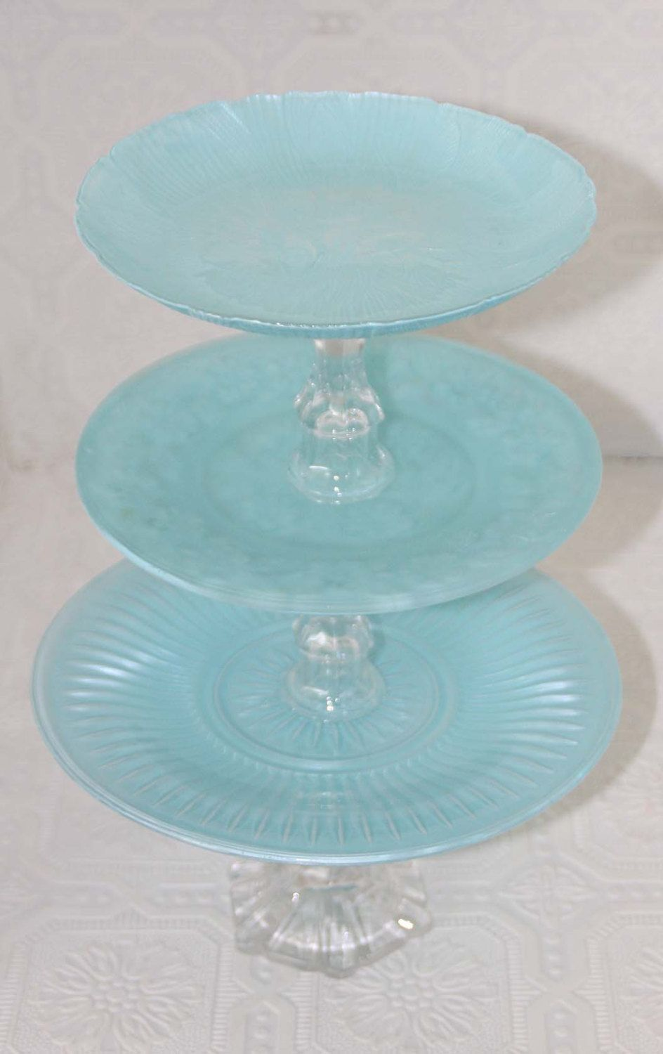 Pearlized Tiffany Blue Shabby Chic Three Tier Vintage Reclaimed Cupcake Stand. $46.00, via Etsy.