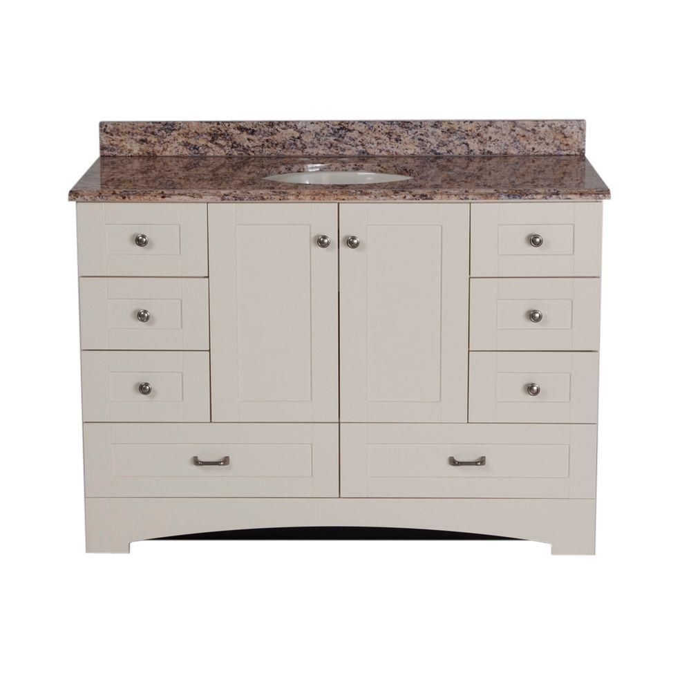 St Paul 48 In Manchester Vanity Vanilla With 49 Stone Effects Top Santa Cecilia Mbd48stp2com V The Home Depot