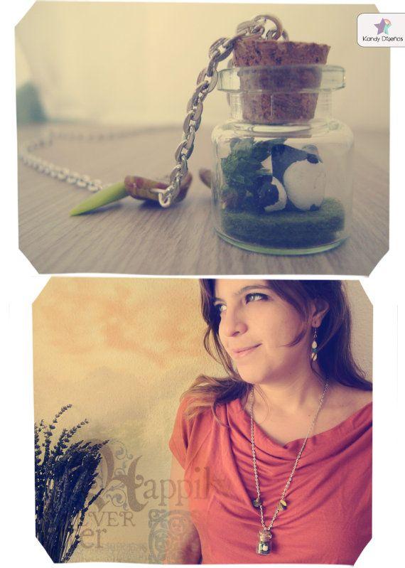 Wolf terrarium necklace