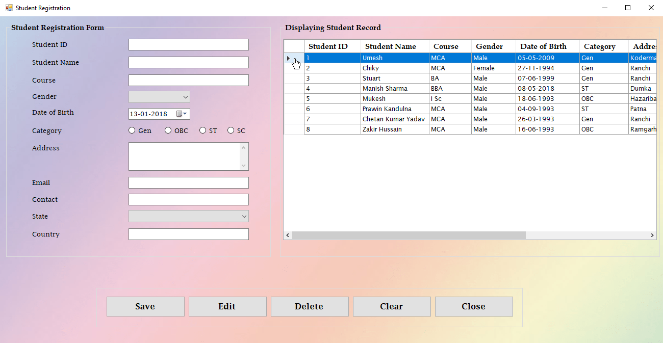 Selected Row in DataGridview | Programmer Mart | Application