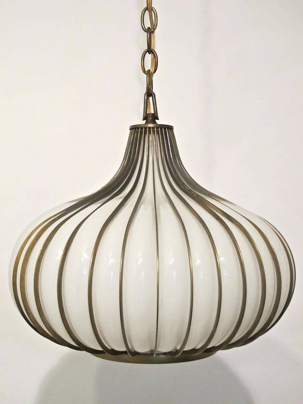 Mid Century Onion Pendant Light Fixture