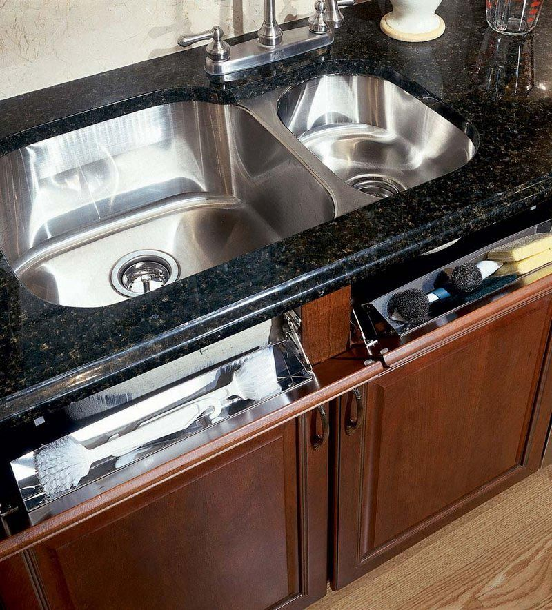 Storage Solutions Details - Stainless Steel Tilt-Out Tray - from KraftMaid storage solutions