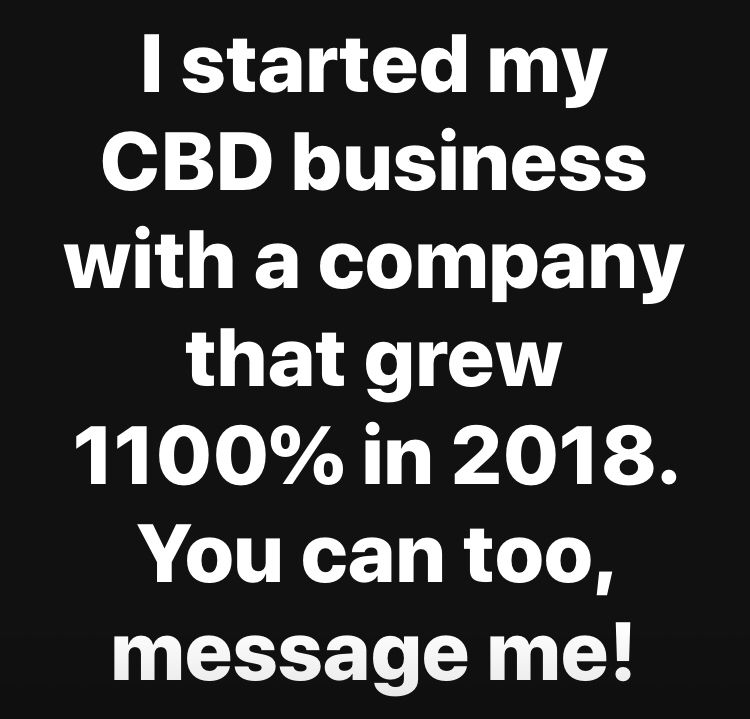 Weekly pay, fun job! I love selling CBD. Low start up cost