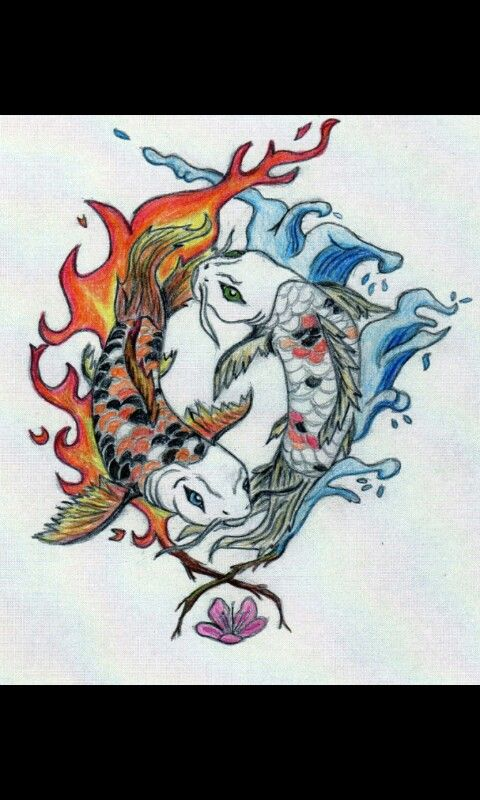 Koi Tattoo Fire Ice Design Neat Tattoo Ideas Japanese Tattoo