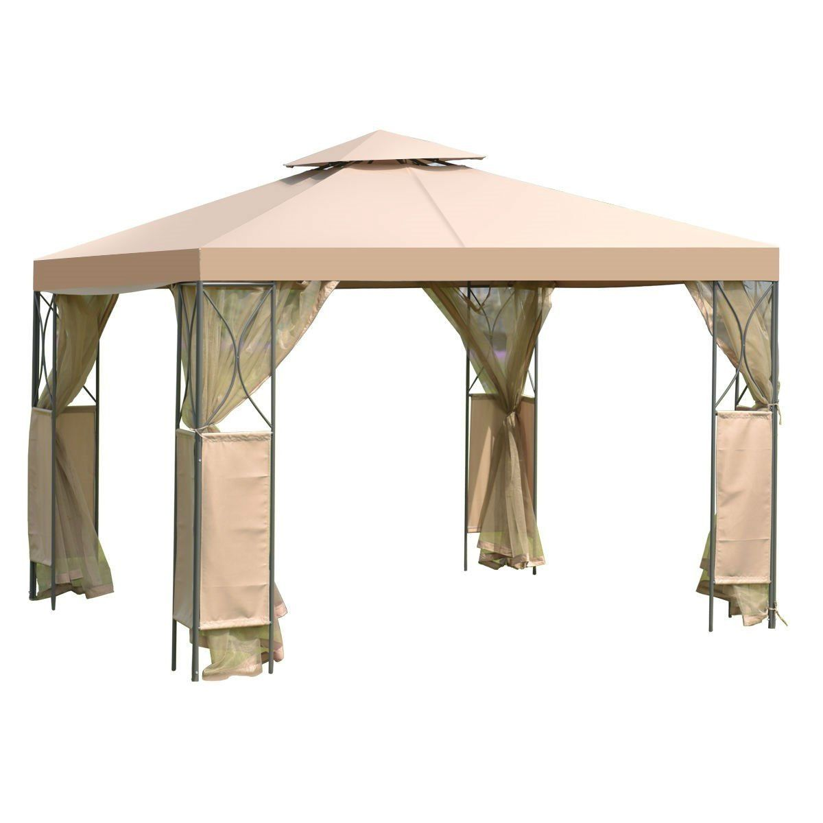 10 X 10 Ft Gazebo With Coffee Canopy And Mosquito Netting Mesh Sidewalls In 2020 Gazebo Canopy Steel Gazebo Gazebo