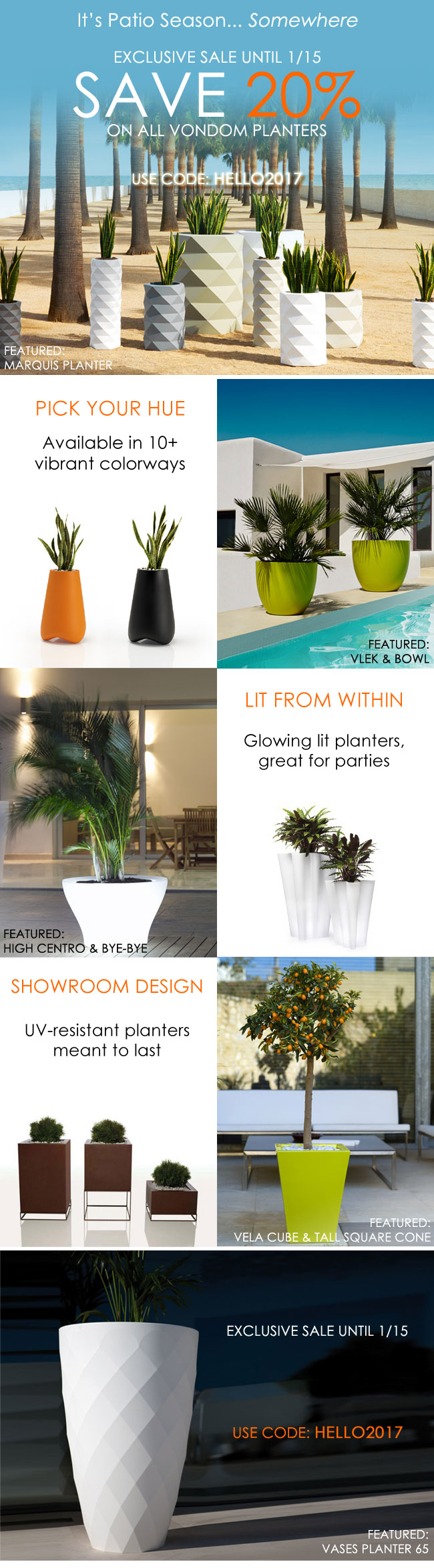 Exclusive vondom offer 20 off all vondom planters save big on modern elegant planters visit urbilis com to see full selection