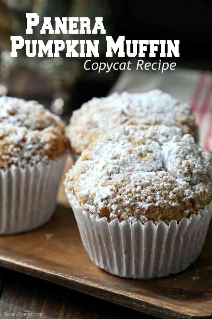 Panera Pumpkin Muffin Recipe - easy copycat recipe for their jumbo muffins! SnappyGourmet.com #pumpkinmuffins