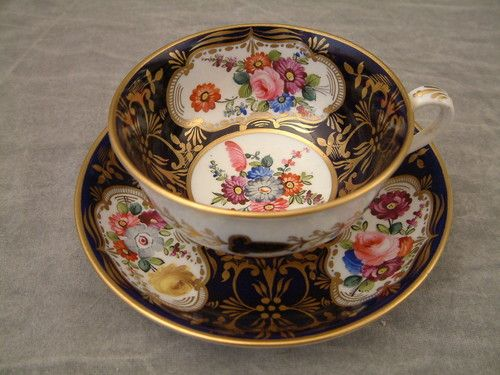OUTSTANDING & RARE ROCKINGHAM WORKS C1830 - 37 FLORAL CUP & SAUCER
