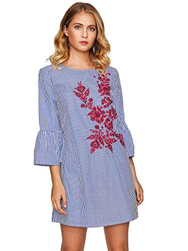 5a16966a5fdc Floerns Women's Bell Sleeve Embroidered Tunic Dress Blue ... https://www