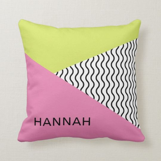 Chic Modern Pink and Green Memphis Design Throw Pillow | Zazzle.com #memphisdesign