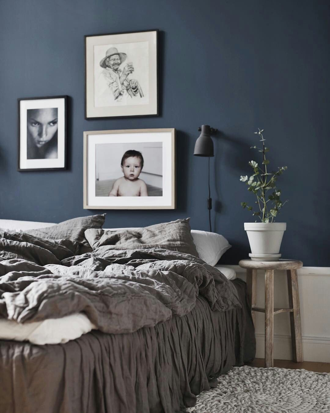 Dark blue bedroom wall home sweet home pinterest dark blue bedrooms blue bedroom walls Master bedroom with grey furniture