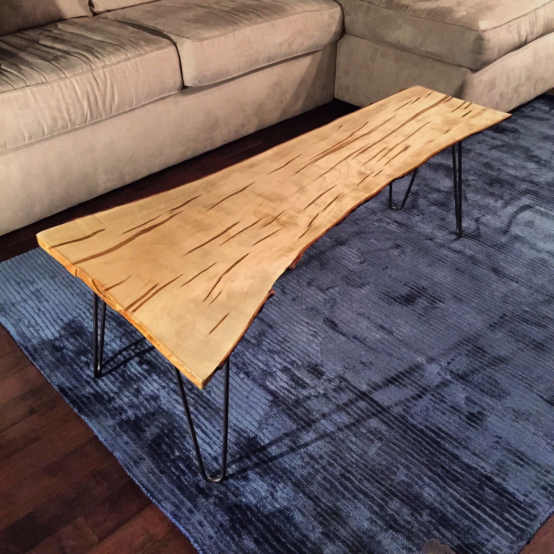 Live Edge Ambrosia Maple coffee table with hairpin legs DIY
