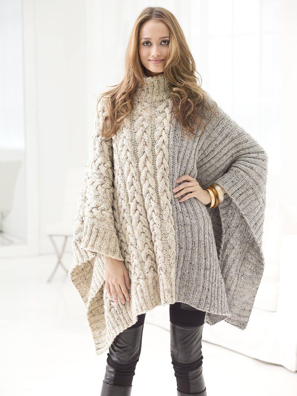 Poncho para las mujeres cabo. Suéter de las mujeres de lana | Tejido ...