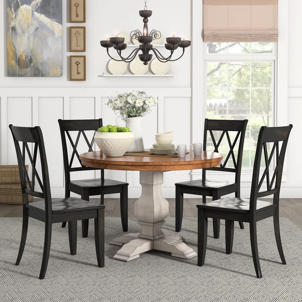 Eleanor Antique White Round Solid Wood Top 5-Piece Dining ...