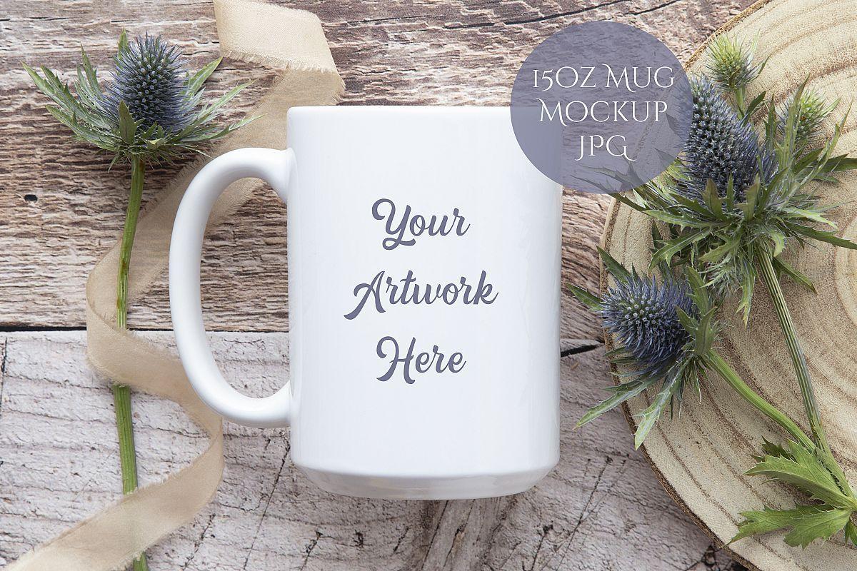 15oz Mug Mockup rustic wood