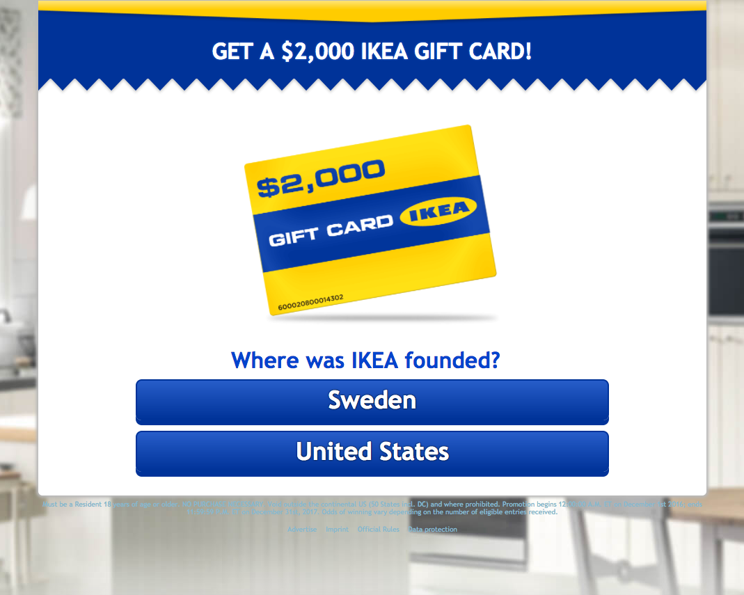 Your Chance To Enter An Online Sweepstake To Win A 2000 Ikea Gift