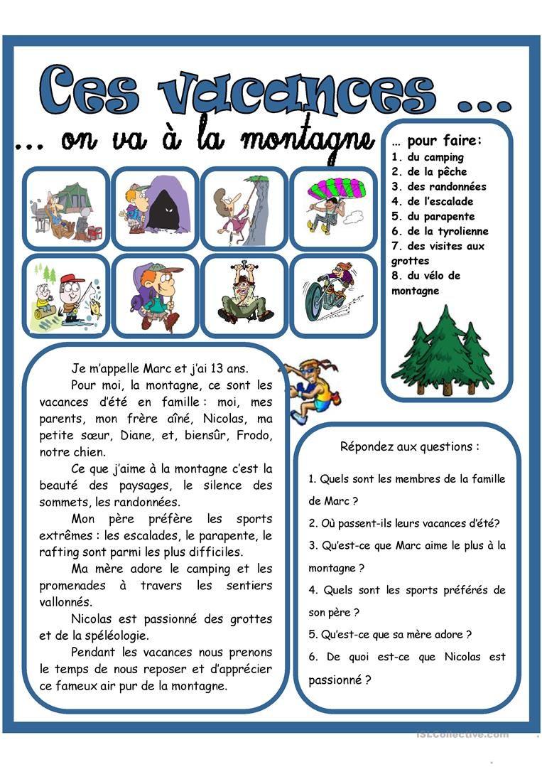Les vacances d t la montagne 1 fiche d 39 exercices fiches p dagogiques gratuites fle - Vacances en montagne locati architectes ...