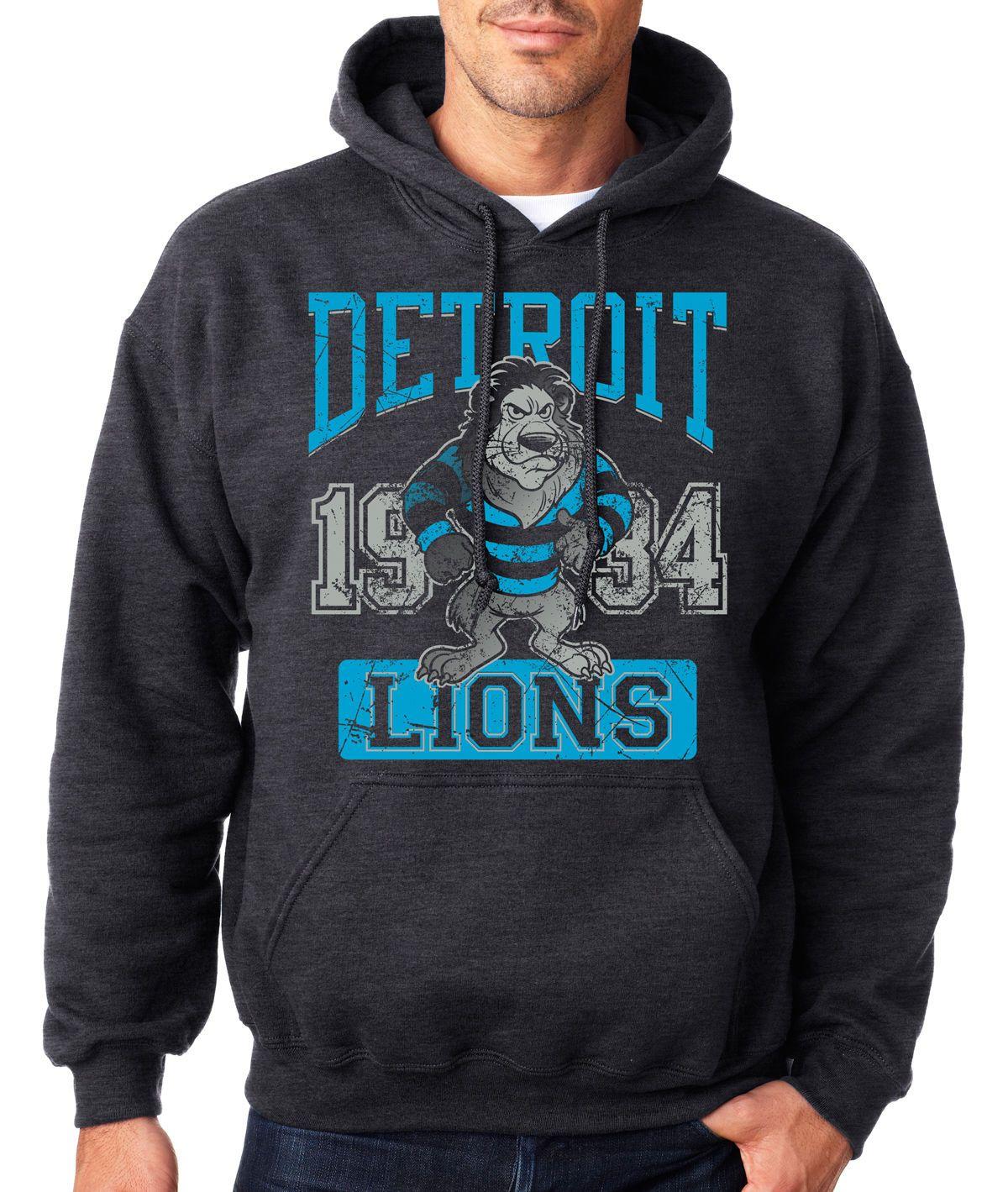 d539d505 Details about VINTAGE DETROIT LIONS HOODIE Hooded Sweatshirt NFL ...